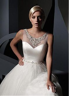Elegant Tulle & Satin A-line Illusion Neckline Wedding Dress With Beaded Lace Appliques