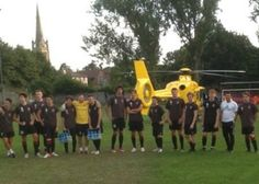 August 2013: The chairman of Saffron Walden Town FC successfully marshalled Anglia Two into land on the Catons Lane pitch just before the start of an under 18 match. Melvyn Seymour sprang into action when he noticed the EAAA pilot circling the ground in search of a make-shift helipad. Drawing on 24 years of experience working as a marshal for BAA at Stansted Airport, Mr Seymour gave the pilot the 'OK' to land and guided him down with the use of hand signals.
