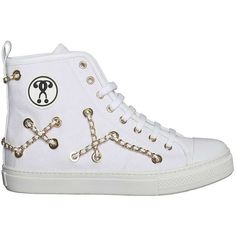 MOSCHINO 'Chain' embellished high top sneakers ($190) ❤ liked on Polyvore featuring shoes, sneakers, embellished shoes, high top trainers, high top sneakers, decorating shoes and moschino shoes