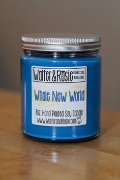 Whole New World 8oz. Soy Candle - vegan - Disney inspired via Etsy