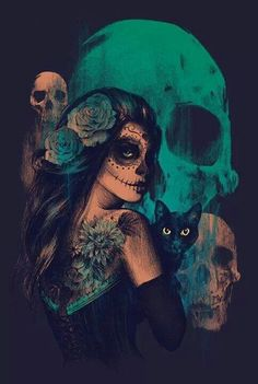 Day of the Dead woman * skull art