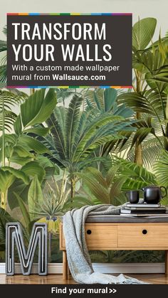 Choose from our vast custom wall mural collection of photography and on trend decor designs at Wallsauce. FREE UK delivery within 2 to 4 working days. Parrot Wallpaper, Wall Wallpaper, Tropical Wallpaper, Luxury Wallpaper, Big Indoor Plants, Custom Wall Murals, Bedroom Decor, Wall Decor, Tropical Landscaping
