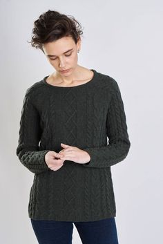 43e743acf9a1d8 Moorland Cable Knit Jumper Cable Knit Jumper, Knit Sweaters, Slim Jeans,  Green Colors