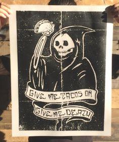 """Grim Taco"" Art Print by DOOMCZAR"