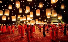 This photo was taken during the Yee Peng festival in Thailand, most commonly associated with Chiang Mai. During the festival, which is a celebration of light, thousands of floating lanterns are released into the air, setting the skies ablaze.