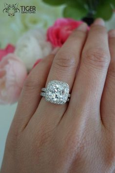 2.25 Carat Cushion Cut Halo Wedding Set Half by TigerGemstones