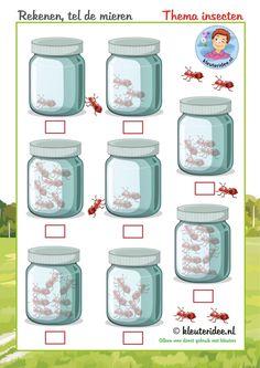 Tel de mieren, thema insecten en kriebelbeestjes, rekenen voor kleuters, kleuteridee, free printable.