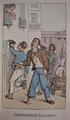 """""""Distressed Sailors"""" from """"Characteristic Sketches of the Lower Orders"""" by Thomas Rowlandson (1820)"""