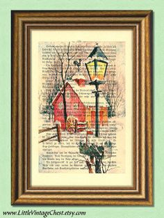 Black Friday! Buy 1 get 2! - WINTER NIGHT  Christmas Print  Dictionary by littlevintagechest, $7.99