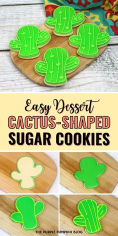 These Cactus Cookies are yummy, fun to make, and will definitely be a hit at any party. If you are looking for awesome sugar cookies for Cinco de Mayo, this is the recipe to save. These cactus sugar cookies would also be perfect for a llama, southwestern, or cowboy party!