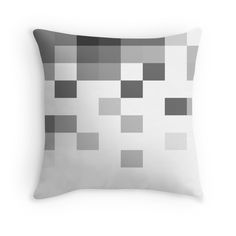 Gray Scale In Pixels throw pillow by ARTbyJWP on redbubble #throwpillow #cushion #pillow #homedecor #pixels #gray #white