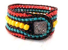 Boho Modern Leather Wrap Cuff Bracelet w/ Coral by GloryGift, $54.00