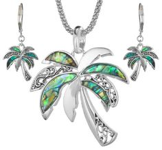 TOPSELLER! Green Abalone Palm Tree with Filigree... $20.99