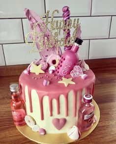 Most Popular Ideas Birthday Cake Pink Gin Elegant Birthday Cakes, Birthday Cakes For Men, Birthday Cake Wine, 19th Birthday Cakes, Frozen Birthday Cake, Homemade Birthday Cakes, Birthday Cupcakes, 21st Birthday, Pink Birthday