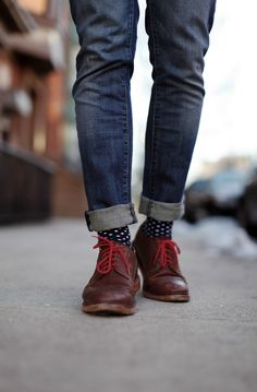 Polka dot socks and red laces on a brown leather shoes - lesson in creating interests in what you wear.