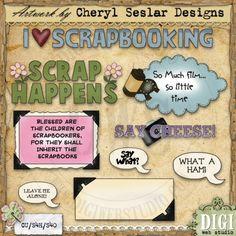 Scrapbookers Sentiments 1 - Exclusive Cheryl Seslar Clip Art
