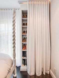 Amazing Hide your shoes behind a curtain with this small space storage hack idea