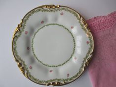 Antique Pouyat Limoges French Pink & Green Plate by jenscloset