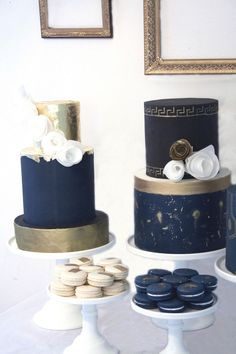 Navy and gold cakes