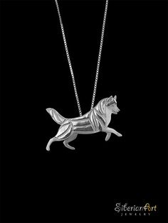 Siberian Husky Leader - sterling silver pendant and chain. on Etsy, $99.00