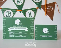 Football Invitation - Football Birthday Party - Printed  or Printable - Thank you card by theuniqueday