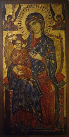 Byzantine Iconography - Jesus and the Virgin Mary A century Byzantine Madonna. Religious Images, Religious Icons, Religious Art, Madonna Und Kind, Madonna And Child, Byzantine Icons, Byzantine Art, Kunsthistorisches Museum, Images Of Mary