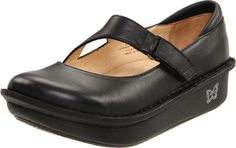 Alegria Women's Dayna Flat,Black Napa,38 EU/8-8.5 M US Premium, stain-resistant, patterned, metallic or textured leather upper. Leather lining. Adjustable strap with hook-and-loop closure. Padded back collar. Removable, leather-covered cork, latex and memory foam-cushioned footbed with arch support.  #Alegria #Shoes