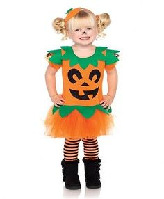 Little Girl's Pretty Pumpkin Jack O Lantern Dress Kids Pumpkin Halloween Costume | eBay