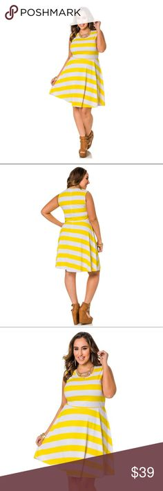 """Just in⚓️Ashley Stewart Plus Skater Dress Nautical by nature, these bold stripes are hot and always in style. In a skater silhouette, this plus size dress is bold, feminine and versatile. Go for casual cool or stun with an elegant girl-next-door vibe. Scoop neckline. Sleeveless. Invisible back zip closure. Plus size 14/16 approx. measures 44"""" in length. Machine wash cold. Do not bleach. Lay flat to dry. Warm iron if needed. Polyester/Rayon. Made in the U.S.A.  ✔️Size26/4X, waist 45, Bust…"""