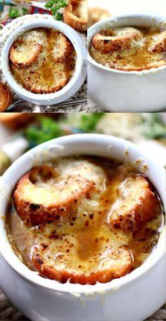 Fall Soup Recipes, Onion Soup Recipes, Chowder Recipes, Vegetarian Recipes, Cooking Recipes, Hot Soup, Homemade Soup, Soup And Sandwich, French Onion