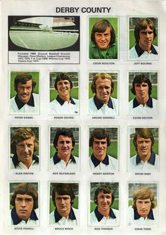 Derby County team stickers in Football Cards, Football Jerseys, Football Players, British Football, English Football League, Archie Gemmill, Dave Mackay, Derby County, Everton Fc