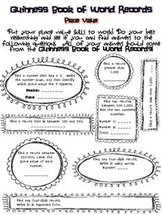 M and M Candy Place Value Activity Snack-tivity Worksheet