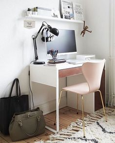 Creative Office IKEA Micke Desk in Small Workspace White Walls Room Ikea Home Office, Home Office Chairs, Home Office Design, Home Office Furniture, House Design, Furniture Ideas, Pipe Furniture, Furniture Design, Office Designs