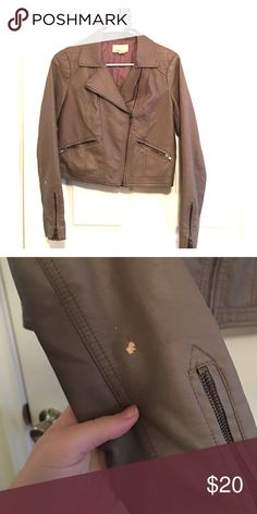Faux leather moto jacket Almost crop length. Sits right above hips. Defect on right sleeve as pictured. pictures are pretty true to color Forever 21 Jackets & Coats