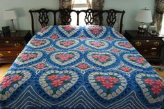 Gorgeous Hearts and Flowers Blue Vintage Chenille Bedspread