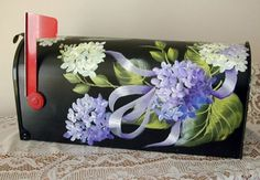 hand painted mailboxes | Hand painted Hydrangeas Mailbox - CraftStylish