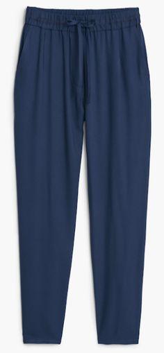Pantalon bleu marine fluid, soldes Mango