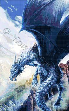 Blue dragon fantasy cross stitch kit, pattern   Yiotas XStitch