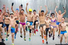 « La course des cochons nus » comme on dit ici : Undie Run In Beijing :