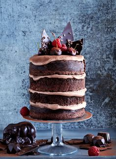 ~ naked chocolate cake with frosting ~