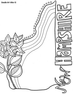 New Hampshire Coloring Page By Doodle Art Alley