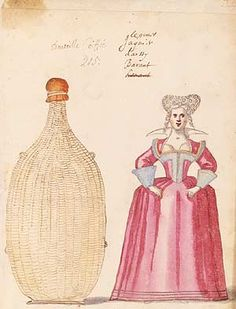 Bonnetted Bottles. Burlesque Ballet du Serieux et Grotesque, 1627. Daniel Rabel workshop. Louis XIII was one of the dancers at this ballet in which a group of women were hidden inside the bottles. They entered with a band of Swiss soldiers, and then revealed themselves as having come in place of wine.