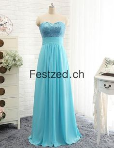 Herzausschnitt A-Linie Blau Lang Chiffon Abendkleider
