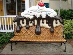 Ice Cream Cone Bench. I'd love to have this in my front yard... Or backyard or just somewhere by my house.