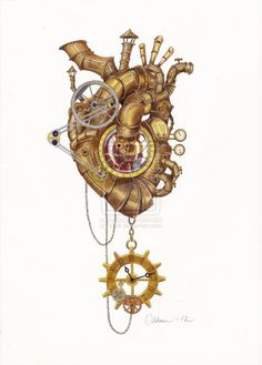 Steampunk Heart by Vitnir in steampunk heart drawing collection - ClipartXtras Chat Steampunk, Arte Steampunk, Steampunk Heart, Steampunk Necklace, Steampunk Witch, Frozen Heart, Heart Illustration, Tattoo Illustration, Medical Art