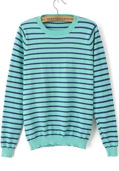 Green Long Sleeve Striped Anchors Embroidered Sweater 23.33