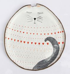 Cat plate by clayopera on Etsy