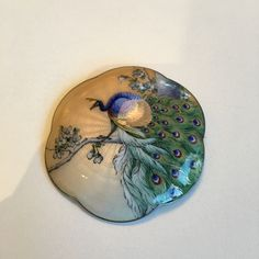 Gustav Gaudernack design (?) Gilt silver guilloché enamel brooch with hand painted peacock on apple tree branch. Influenced by japonism.