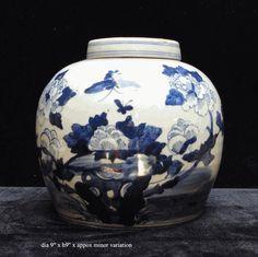$95 Chinese Blue & White Porcelain Decor Ginger Jar - Golden Lotus Antiques