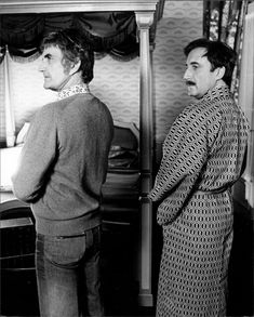 Blake Edwards and Peter Sellers on the set of The Pink Panther Strikes Again directed by Blake Edwards, 1976 Blake Edwards, Strikes Again, Humphrey Bogart, Lauren Bacall, Pink Panthers, Movie Poster Art, Old Hollywood, I Love Him, Actors & Actresses